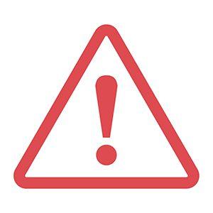Big red warning sign indicating danger ahead.